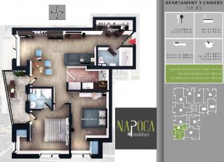 VA3 106249 - Apartament 3  camere de vanzare in Floresti