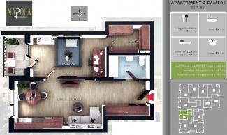 VA2 106251 - Apartament 2  camere de vanzare in Floresti