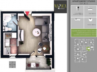 VA1 106260 - Apartment one rooms for sale in Floresti