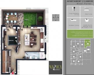 VA2 106768 - Apartament 2  camere de vanzare in Floresti